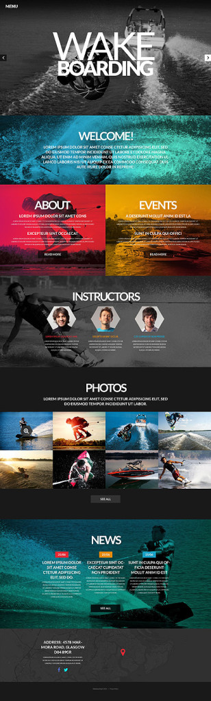 Template 52120 - Wakeboarding Runner Responsive Website Template