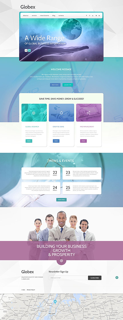 Template 55042 - Globex Business Responsive WordPress Theme with Slider, Carousel, Gallery and Blog