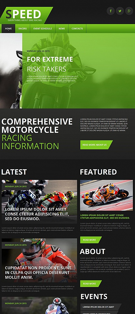 Template 55671 - Motoraces Racer Moto CMS HTML Template with Slider and Gallery