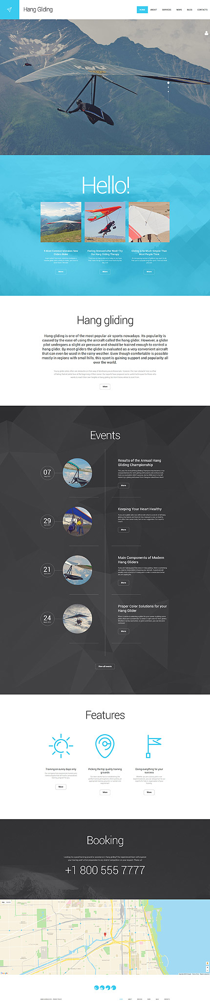 Template 55966 - Hang Gliding Responsive WordPress Theme with Carousel, Slider, Megamenu, Blog, Portfolio