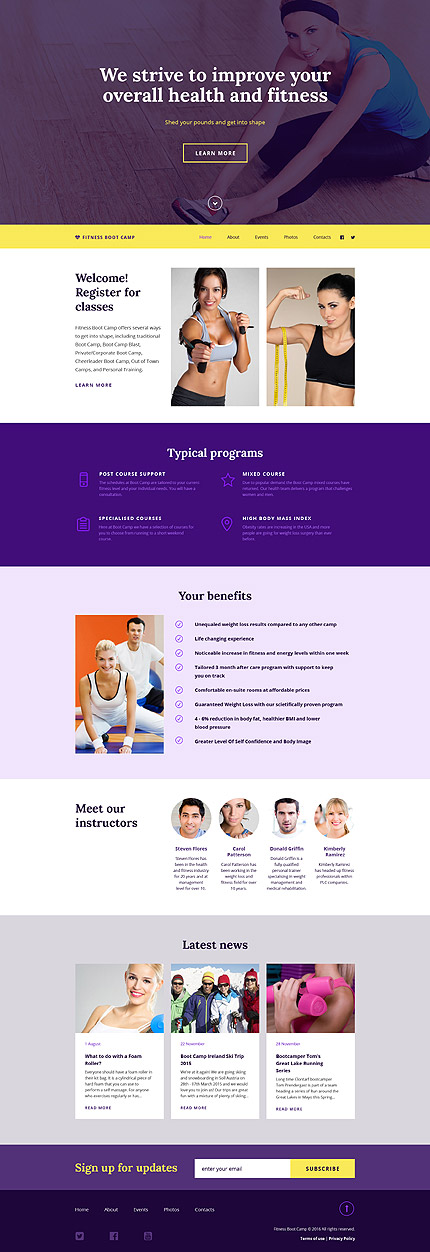 Template 56094 - Fitness Club Responsive Website Template with Gallery and Blog