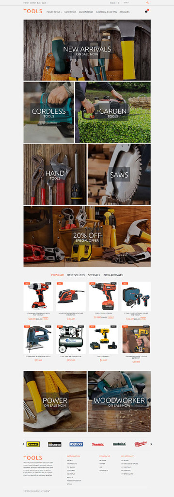 Template 57940 - Tools Store Responsive PrestaShop Theme with Carousel, Sample Data Installer and Theme Color Switcher