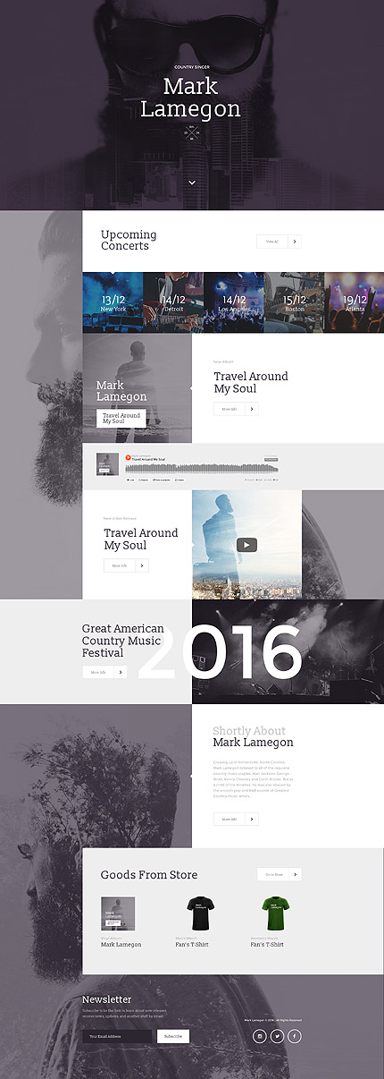 Template 58249 - Country Music Responsive Landing Page Template with Audio Player, Video Integration