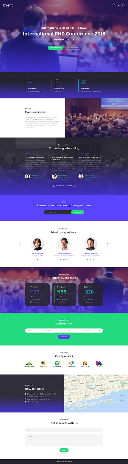 Template 58491-Event International Responsive Landing Page Template with Drag and Drop Page Builder