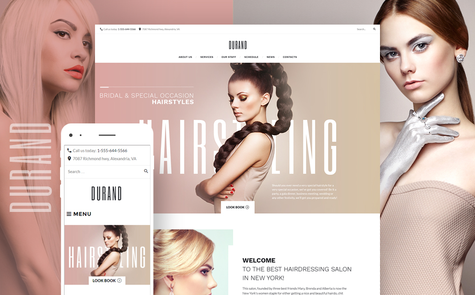 Template 58991 - Durand - Beauty & Hair Salon WordPress Theme