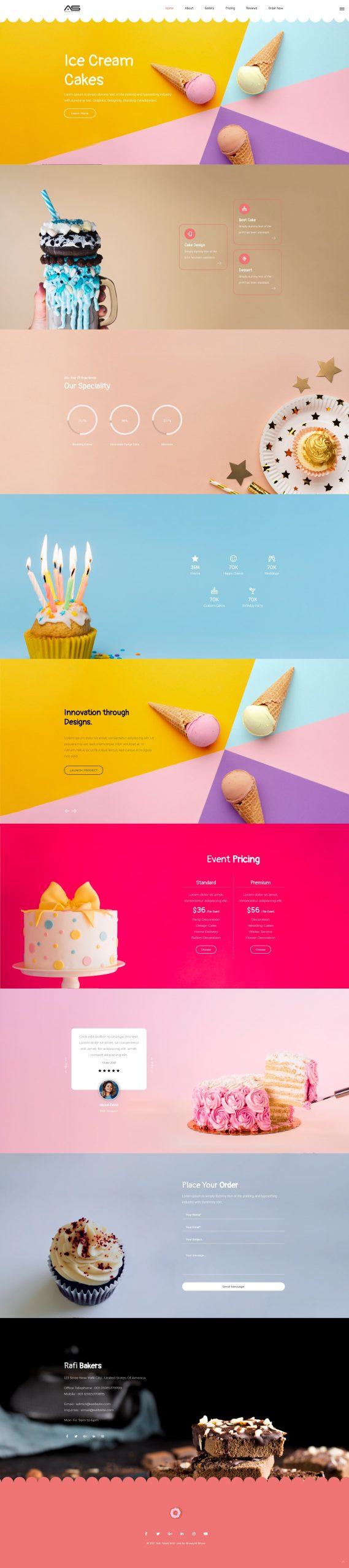 Rafi | Cakes HTML5 Landing Page Template