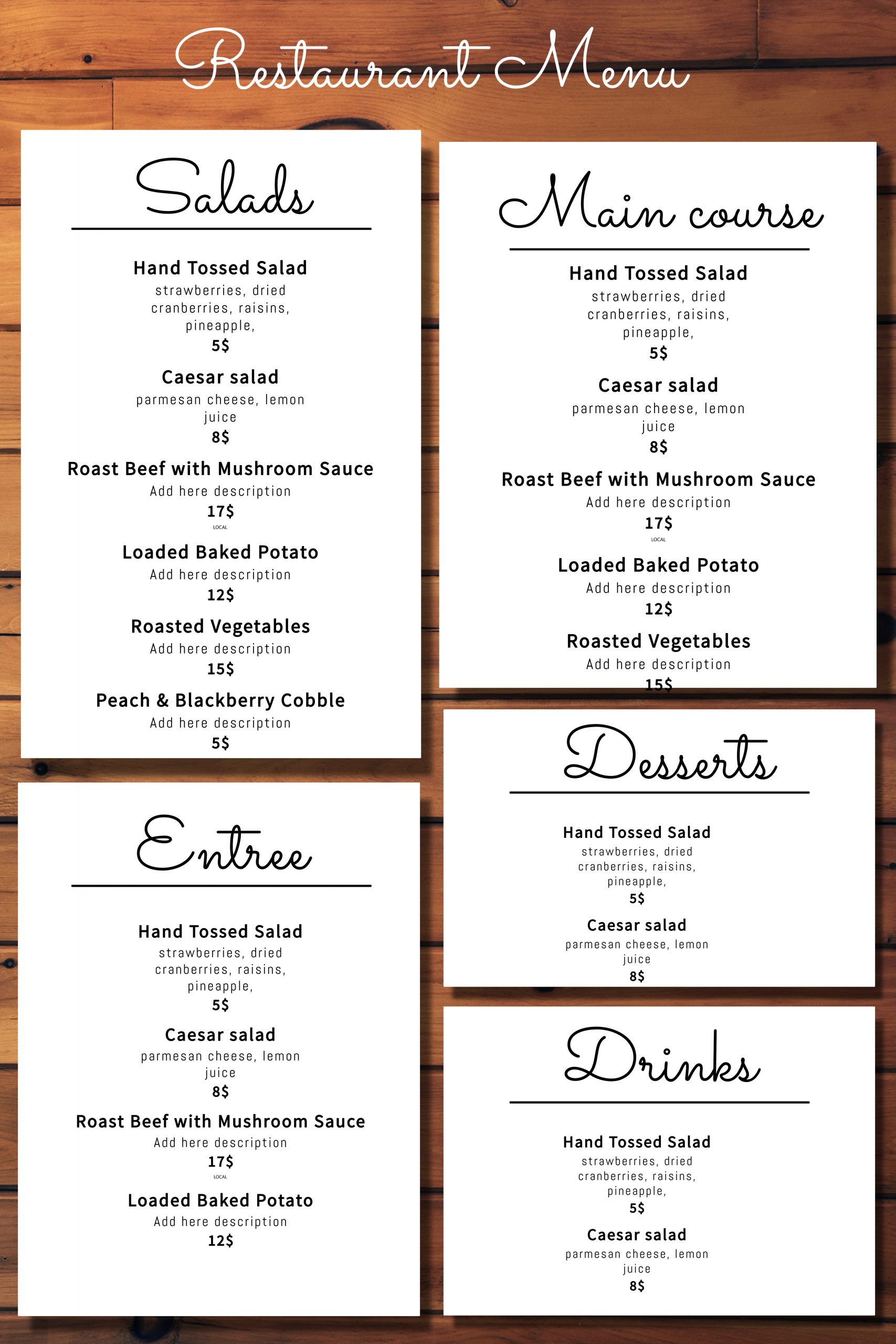 Simple Menu Design with Boxes