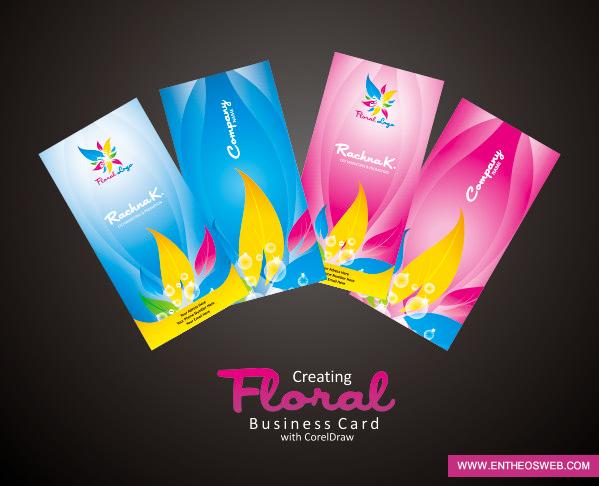 floral business card design in Coreldraw