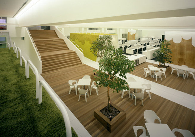 japanese office design. Its Design, Which Is Inspired From An Old Bowling Alley. There A Lawn With Lush Green Grass And Adjacent Open Space Offices, Project Spaces, Japanese Office Design