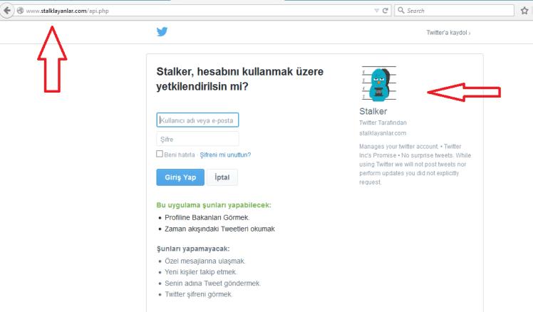 stalklayanlar sayfasında twitter ile giriş yaparken sahte bir ekran kullanıyorsunuz
