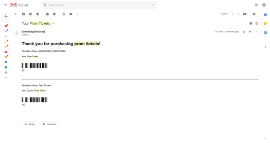 automated tickets emailed
