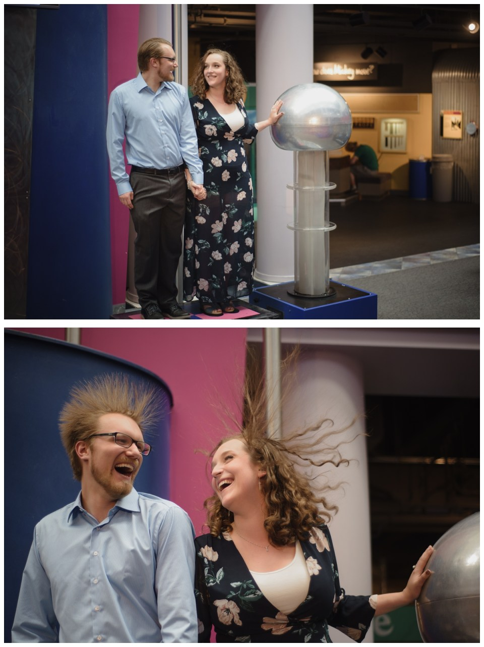 static electricty ball science centre engagement session regina