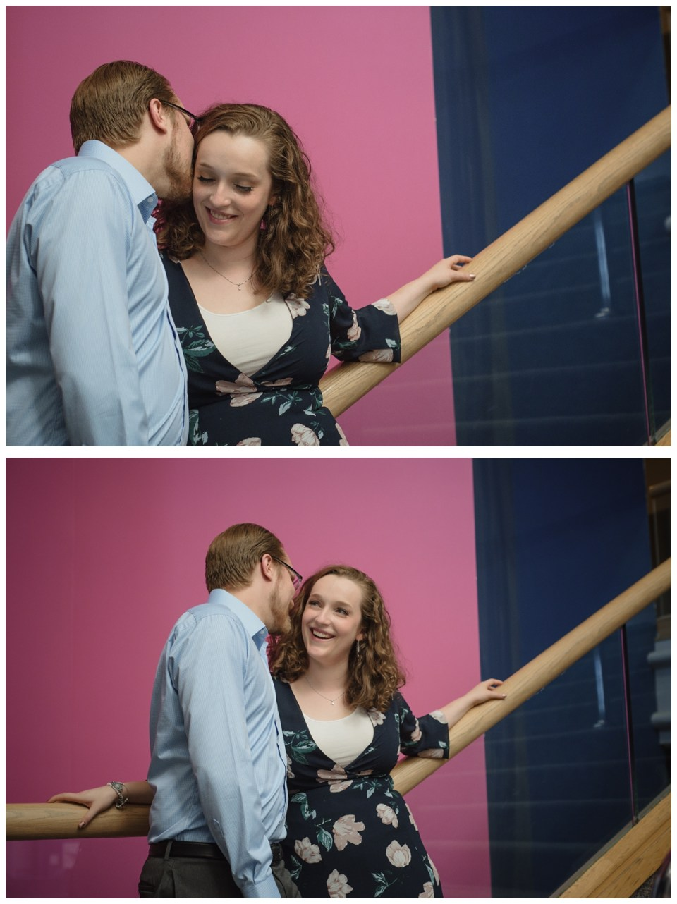 couple on stairs pink and blue background science centre engagement session regina