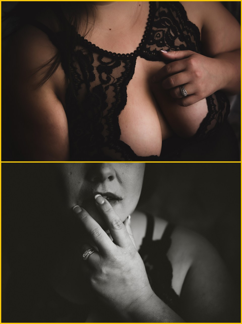 Diptych of woman during boudoir experience close-up of breasts with hand holding lingerie, black and white image close-up of mouth with hand placed over lips