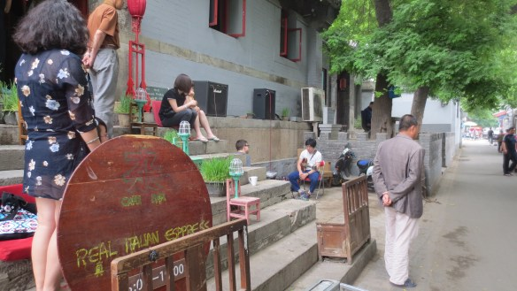 Me:Mo (Zhai Ruixin) and Layer performing in the hutong outside of Zajia, 26 May 2013