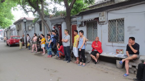 The audience for a hutong performance, outside of Zajia, 26 May 2013