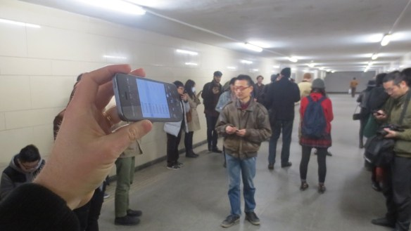 Zhu Wenbo performing, Sanyuanqiao underpass, Beijing, March 2016, photograph by Edward Sanderson.