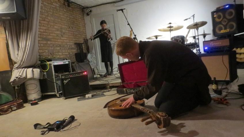 Ake performing with Daniel Beban, at fRUITYSPACE, Beijing, 23 October 2016