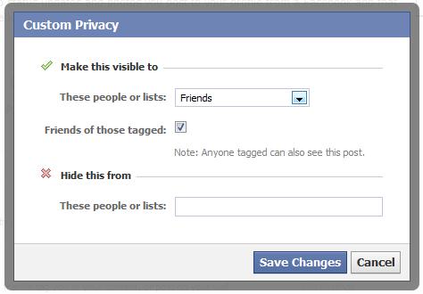Facebook custom privacy
