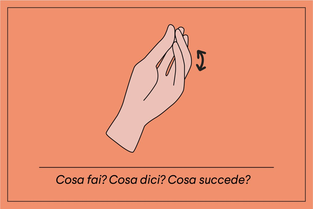 Italian hand gesture: Cosa fai