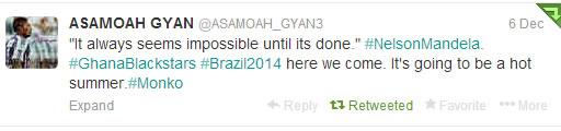 Asamoah Gyan Tweet