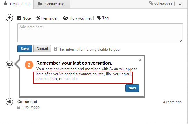 Linkedin Contact Remember Conversation by adding contact source like email,contact list and Calender