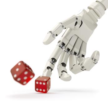 Ręka robota rzucającego kośćmi