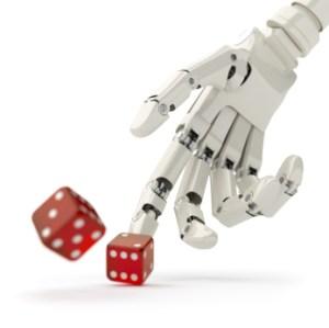 Ręka robota rzuca kości