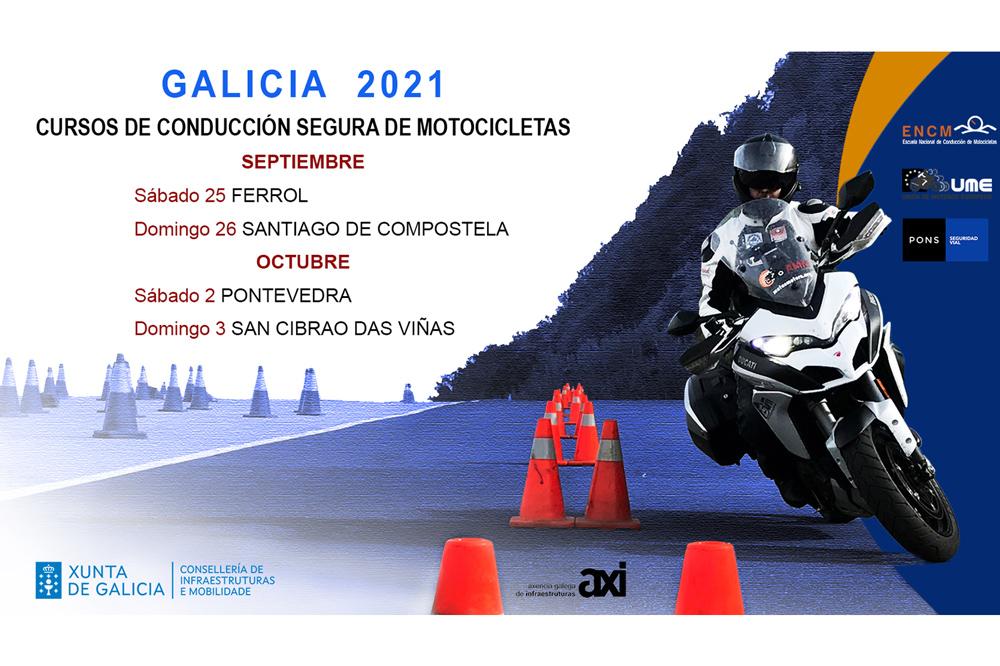 Cartel curso conducción motos Xunta de Galicia 2021