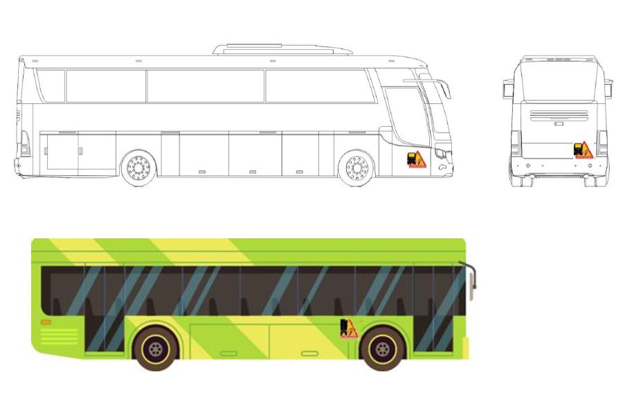 Señal ángulo muerto en autobús