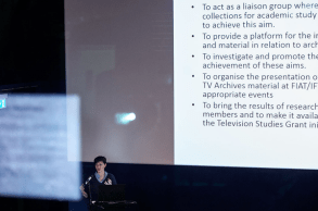 Dana Mustafa during her presentation about the FIAT/IFTA Media Studies Commission