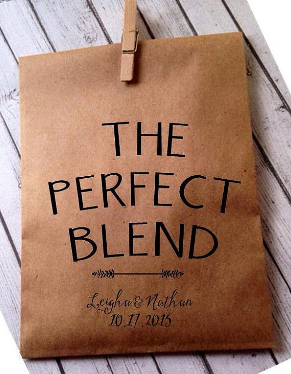 The perfect blend of personalized coffee is makes for cute bridal shower favors.