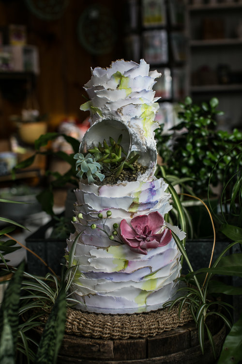 Autumn Nomad Succulent Wedding Cake