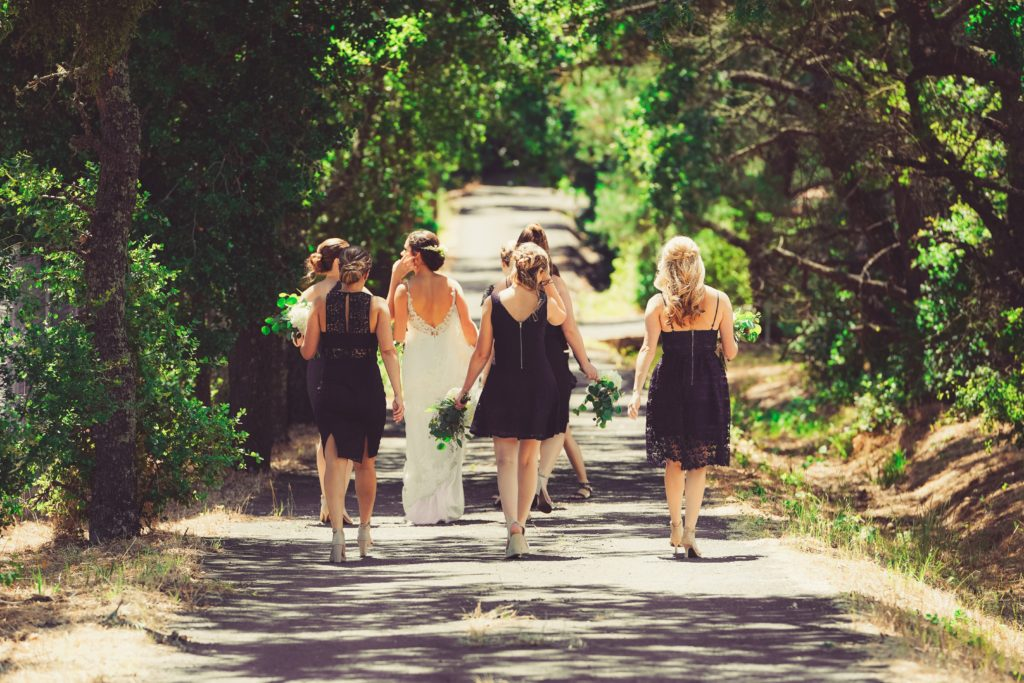 Bridal Party Walking Away
