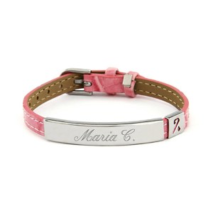Customizable sterling silver pink id bracelet