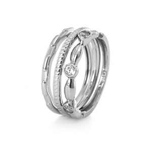 custom stackable sterling silver cz ring set