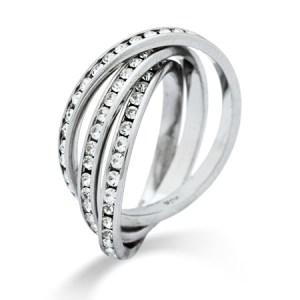 Sterling silver custom 3 trio cz ring set
