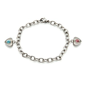 Mommy and daughter bracelet with 2 heart shaped charms
