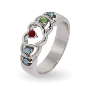 Personalized mothers ring with 5 stone heart birthstone ring at eves addiction