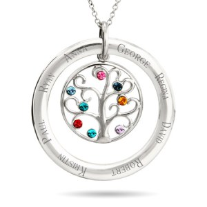 family tree birthstone name sterling silver necklace