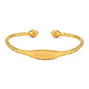 gold plated aunt bracelet with engraved name bracelet design