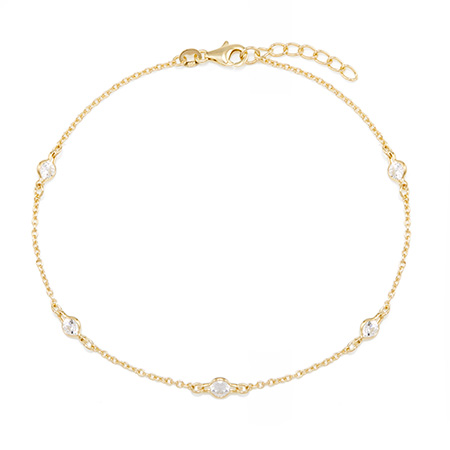 bezel set gold plated anklet mothers day gifts adjustable sterling silver
