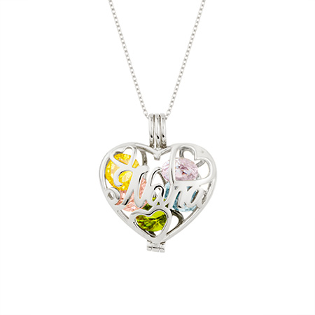 nana silver locket 16 inch chain heart shaped charm for mothers day grandma birthstone necklace