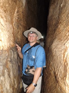 Keith Walking through Hezekiah's water tunnel.