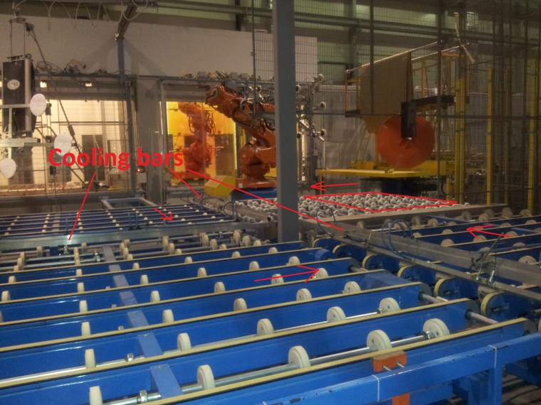 Glass cooling transport tables