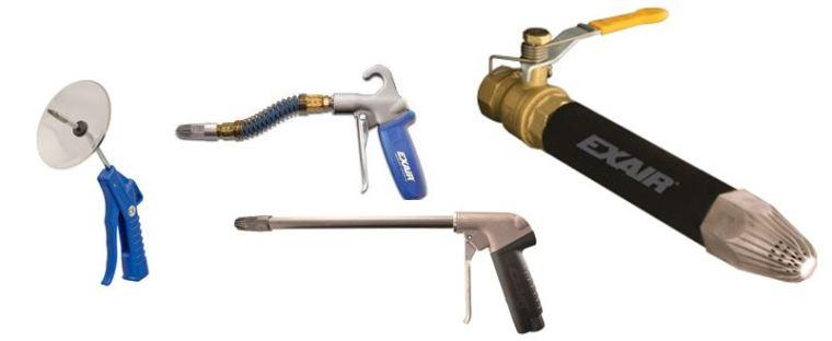 Left-right:  Precision, Soft Grip w/Stay Set Hose, Heavy Duty w/Rigid Extension, & Super Blast Safety Air Guns