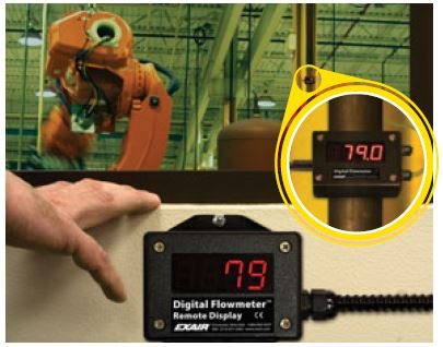 EXAIR's Remote Summing Display - see current flow rate, previous 24 hours' consumption, or total cumulative usage, at the push of a button!