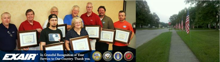 My fellow veterans at EXAIR on the left; my neighborhood on the right.  Great places to spend time.