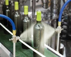 Spray nozzles in action.