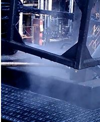 Fumes coming out of hatch below platform